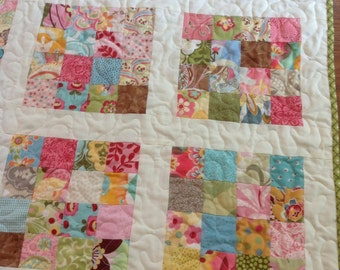 Baby Girl Quilt in Pink, Blue, Yellow, Green, cream, brown