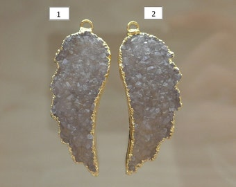Natural Grey Agate White Drusy Druzy Large Angel Wing Charm Pendants 24K Gold Electroplated, sale - 15% off - m5-97-2