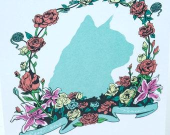 SALE - Pet Cat Sympathy greeting card - Feline Wreath - 50% off