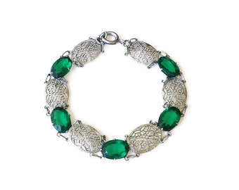 Art Deco Silver Filigree Green Glass Bracelet - Rhodium Plated, Emerald Green, Art Deco Jewelry, Antique Jewelry