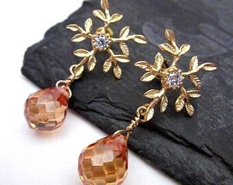Gold Post Dangles -- Gold & Peach Drop Earrings -- Gold Leaf Post Earrings -- CZ Gem Earrings -- Peach Post Earrings -- Leaf Cz Earrings
