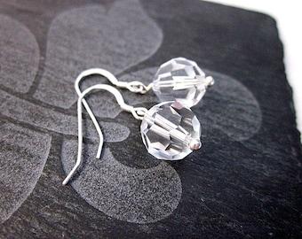 Simple Bling Earrings -- Swarovski Bead Earrings -- Crystal Bead Earrings -- Sparkling Bridal Earrings -- Crystal Drop Earrings --Bead Drops