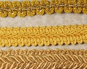 STORE CLOSING 75% OFF Crafts Lot of Braided Gimp Rope Trims 11+ Yards Shades of Gold Remnant Destash