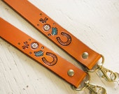 Personalized Camera Strap - Custom Leather and Name - Horseshoe, Saddle - Horse, Equestrian Themed - Ornate Hand Painted Details