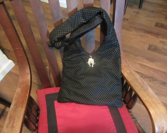 Leather Like Black Knot Hobo Purse Designer Fashion Homemade Women Girls and Teens