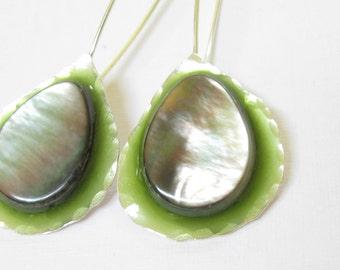 Mother of Pearl Earrings.Long Green Silver Earrings