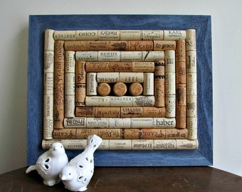 Rustic Denim Blue Wine Cork Board / Corkboard - Rustic, Shabby Cottage Chic, Country Decor, Beach Decor