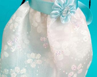 White Flower Glitter Tulle Skirt for MSD SD Ball Jointed Doll