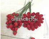 20 Red Color Mulberry Paper Rose buds flowers code  Red-Rosebuds