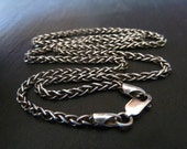 Mens Sterling Silver Chain Necklace, Sterling Silver 2.5mm Wheat Chain, Men's Jewelry