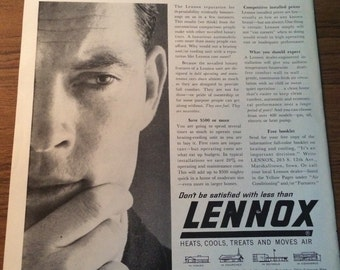 Circa 1962 lennox heating and cooling ad.