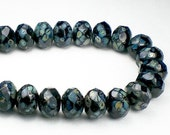 Picasso Czech Glass Beads 6 x 8mm Black with a Picasso Finish Faceted Rondelles 10 Pcs. RON8-630