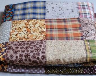 SALE Brown Handcrafted Quilted Handmade Patchwork Quilt Bedroom Blanket 220cm x 220cm