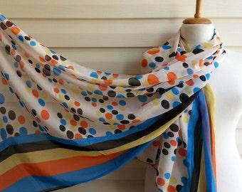 Polka dots infinity Scarf, Printed Infinity Scarf, Chiffon Scarf, Urban Outfit, Lightweight Spring Fashion, Retro Scraf, Orange Yellow Blue