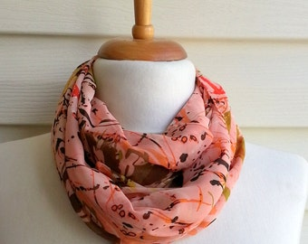 Mothers Day Gift,Salmon infinity scarf, Gift For Mom, Chiffon Scarf, Lightweight Spring Fashion Under 20, Multicolor Leaves