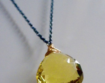Ready To Ship - Lemon Yellow Citrine Drop Necklace ( 24.58 cts! )