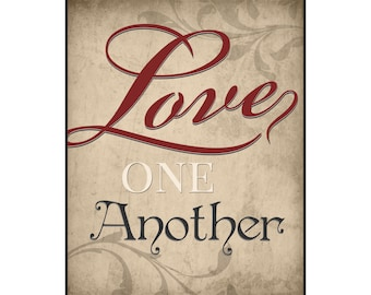 Love One Another Printed Wood Sign Wall Decor 12x15