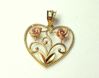 Solid 10k Gold Pendent, Heart With Rose Gold Roses, Pendent, Sweetheart Gift, Vintage Heart Pendent, Yellow Gold