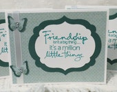 Friendship Note Cards Handmade Set of Ten Teal and White