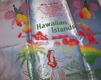 Vintage 1950s Hawaiian Blue Satin and Lace Souvenir Pillow Case Cover from Hawaii Unused