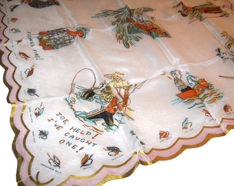1950s Kentucky Fishing Souvenir Scarf or Handkerchief Vintage Silk Blend