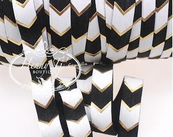 "White/Black/Metallic Gold Foil : Wide CHEVRON / ARROW Fold Over Elastic Printed foe - 5/8"" foe 2, 5, 10 Yards. DIY Headband Supplies"