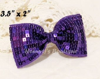 "Elsa Collection: 2 pcs PURPLE / Grape 3.5"" inch Sequin Bow Knot Appliques. DIY Hair Accessories. Hair Bows."