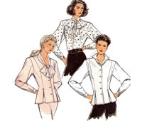 80s Peplum Blouse Pattern Style 1483 Romantic Steampunk Tie Neck Blouse Vintage Sewing Pattern Size 12 14 16 Bust 34 36 38 inches UNCUT FF