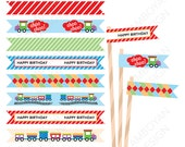 Colorful Choo Choo Train Printable Straw Flag , colorful green yellow orange red party birthday printable , - Instant Download