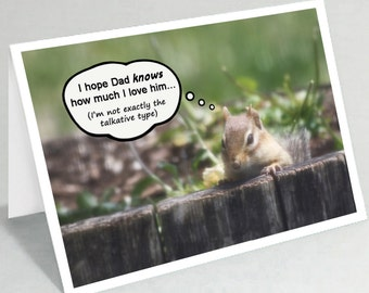 Funny Father's Day card - Chipmunk Fathers Day card - Dad birthday card - Cute animal fathers day greeting card (Blank inside)