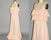 Vintage 70s Bohemian Wedding Dress, 1970s Tiered Maxi Dress, Vicky Vaughn, S - M