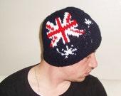 AUSTRALIAN FLAG Beanie HAT / Mens Hat Beanie Hat in Blue, Red White Australian husband gift for men