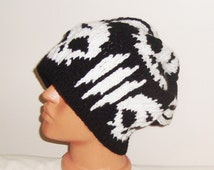 Synyster Gates beanie hat - BLACK/WHITE Skull Knit Slouchy Hat - winter men accessories - skull very slouchy hat