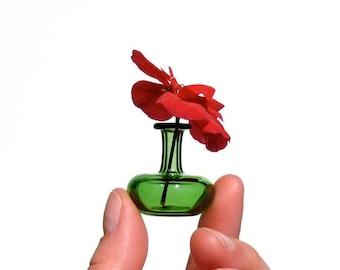 Miniature Vase in Green, Hand Blown Glass