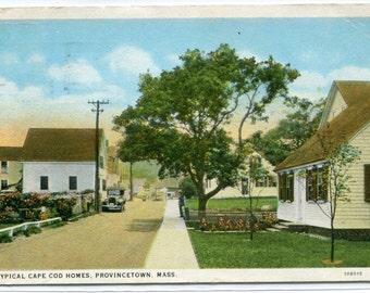 Homes Street Scene Provincetown Cape Cod Massachusetts 1928 postcard