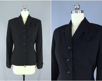 Vintage 1940s Jacket  / 40s Black Wool Crepe Blazer / Riding Jacket / Ivey-Taylor Co. Raleigh / Size Extra Small XS