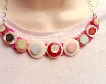 Pastel Mother of Pearl button necklace
