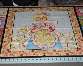 1 Mary Engelbreit Cooking Panel with 4 recipes on either side Quilt 100%  Cotton Fabric Maine sewing crafting supply