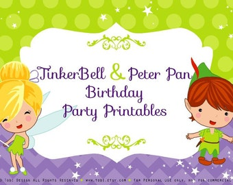 Tinkerbell & Peter Pan theme Birthday Party Printables - INSTANT DOWNLOAD-PDF files