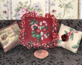 Dollhouse Pillows Miniature 1:12 Scale Christmas Candy Cane Holly Set of Three Pillows ps049