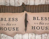 UNSTUFFED Primitive Pillow Cover Lot of 4 Matching Set Country Couch Bless This House Black Tan Home Decor Decorative Gift Set wvluckygirl