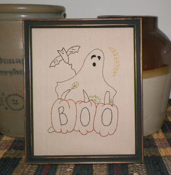 UNFRAMED Halloween Primitive Stitchery Fall Autumn Ghost Pumpkin Bat Moon Prim Country Rustic Decor Picture Sign Spooky Stitched wvluckygirl