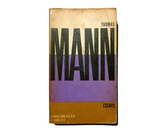 """Paul Rand paperback book cover design, 1957. """"Essays"""" by Thomas Mann."""
