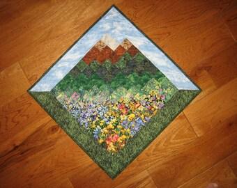 Tahoe Blue Skies Art Quilt , Diagonal Fabric Wall Hanging , Landscape Art Quilt , Rustic Cabin Lodge Decor , Wall Art Quilt Flowers Mountain