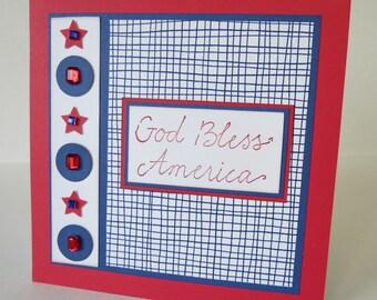God Bless America Jeweled Stars Blank Fourth Of July Card