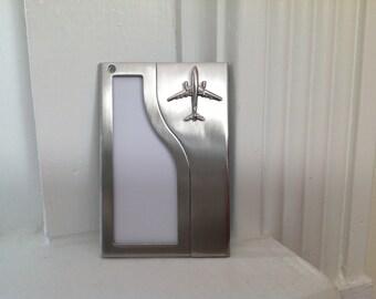 Vintage Silver Metal Airplane Luggage Tag