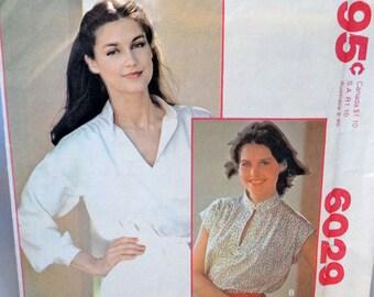 "McCall's 6029, Misses' Blouse Pattern, Pullover Blouse Pattern, Sewing Pattern, Misses' Vintage, Size 14, Bust Size 36"", Uncut Pattern"