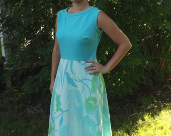 70s Maxi Dress Floral Retro Blue Green Vintage Sleeveless Kay Windsor S M