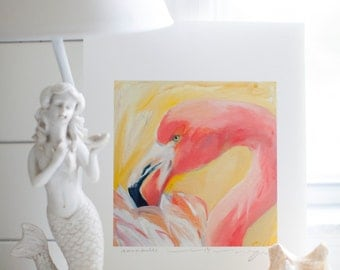"""Flamingo """"Annabelle"""" - 11x14 Signed Limited Edition Print by Deborah Cofer"""