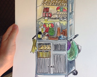 Banh mi cart. Print. Vietnam. Watercolour.